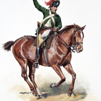 British 17th Light Dragoon trooper , in the green uniform of 1777-78