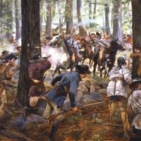"""King's Mountain"" . Patriot forces crush a Loyalist army led by Patrick Ferguson , Oct 7, 1780"