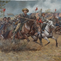 Battle of Valverde . The Charge of the Lancer Company of the 5th Texas Mounted Rifles  during Sibley's New Mexico Campaign of 1861-1862