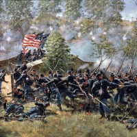 """Burnsides Bridge"" . The 51st Pennsylvania storms the bridge at the Battle of Antietam"