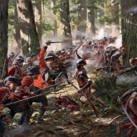 """Bushy Run"" The Black Watch fight their way through an Indian encirclement during Pontiac's Rebellion , August 5-6 , 1763"