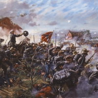 """Barksdale's Charge"" . Barksdale's Mississippi Brigade at the Battle of Gettysburg, July 2, 1863"