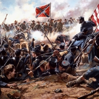 """Mahone's Counterattack"" Black troops in a desperate struggle with Confederates during the battle of the Crater , July 30, 1864"