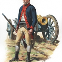 A soldier of Knox's Regiment of Artillery 1776
