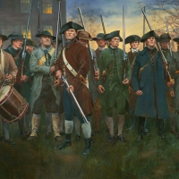 """Lexington Common"" The minutemen prepare to meet the British , the 19th of April1775"